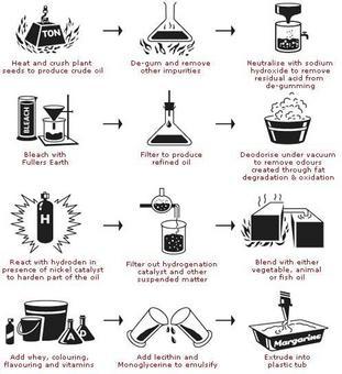 Schema del processo di produzione della margarina