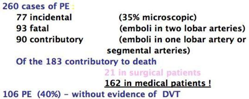 Pulmonary Embolism – Malmô Autopsy Study