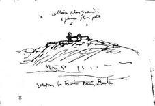 Schizzo della cappella di Ronchamp
