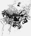 Sovrapposizione tra la pianta del Lafrery e la cartografia del 1980