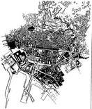 Sovrapposizione tra la pianta del Duca di Noja e la cartografia del 1980