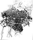 Sovrapposizione tra la pianta dello Schiavoni e la cartografia del 1980