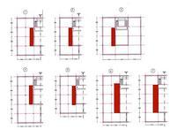 Schema delle piante del piano tipo, in rosso è evidenzato il ballatoio