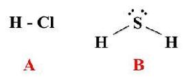 Formule di struttura di due idracidi. A, cloruro di idrogeno (acido cloridrico). B, solfuro di diidrogeno (acido solfidrico).