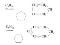 Rappresentazionbe del ciclopentano e del cicloesano