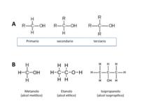 A) Classificazione degli alcoli. B) primi termini e nomenclatura