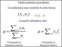 Definizione della media aritmetica ponderata