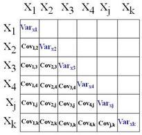 La variabilità del sistema k-variato viene sintetizzata con la traccia della matrice var-voc.