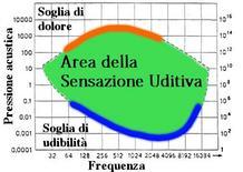 Sensibilità uditiva in funzione della frequenza (pressione sonora).