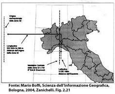 L'Italia è coperta dalla zona 32 e 33 delle coordinate UTM. Fonte: Mario Boffi, Scienza dell'Informazione Geografica, Bologna, 2004, Zanichelli. Fig. 2.21