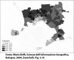 Coropleta basata sul metodo di Jenks. Fonte: Mario Boffi, Scienza dell'Informazione Geografica, Bologna, 2004, Zanichelli. Fig. 3.14