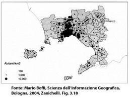 Mappa a simboli scalari. Fonte: Mario Boffi, Scienza dell'Informazione Geografica, Bologna, 2004, Zanichelli. Fig. 3.18