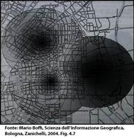Applicazione del modello di gravitazione ad un territorio. Fonte: Mario Boffi, Scienza dell'Informazione Geografica, Bologna, Zanichelli, 2004. Fig. 4.7