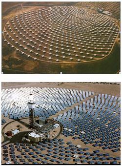 Due tipi di torre solare nel fuoco di un grande campo di specchi piani