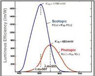 Coefficiente di visibilità spettrale per visione fotopica e scotopica