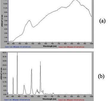 Spettri di emissione di una lampada ad incandescenza (a) e fluorescenza (b)