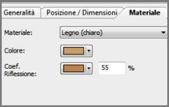 Input del software Dialux: caratteristiche delle superfici