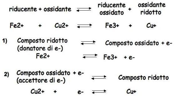 """Nella semireazione 1) il Fe2+ si comporta come donatore di elettroni, mentre Fe3+ è l'accettore di elettroni; insieme costituiscono una  """"coppia coniugata redox"""""""