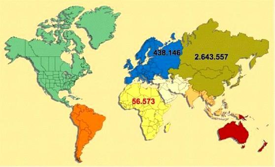 Il continente principale produttore di carne d'oca è l'Asia e, in particolare, la Cina dove si concentra circa il 63 % del patrimonio di oche dell'Asia.