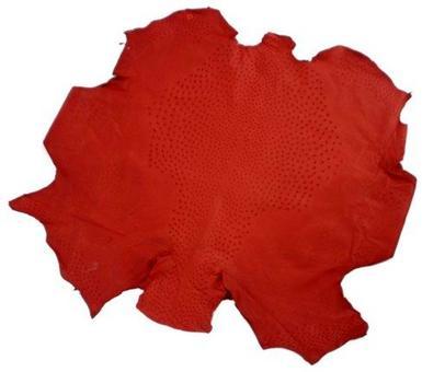 Una pelle di struzzo dopo iniziale conciatura. Notare il rombo centrale con le tipiche borchiature.