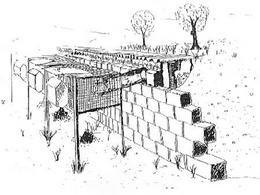 Un disegno che raffigura una fila di gabbie a celle interrate