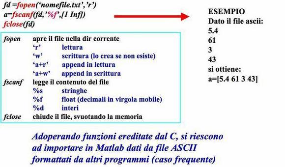 Input da file ASCII formattati