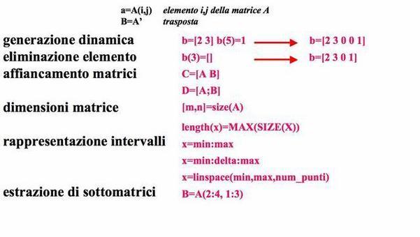 Manipolazione di vettori e matrici