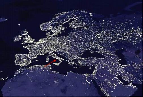 Inquinamento luminoso notturno. Fonte: Kosmograd
