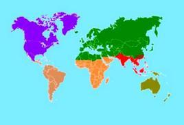 Le 6 regioni zoogeografiche secondo Wallace (Fonte Wikipedia).