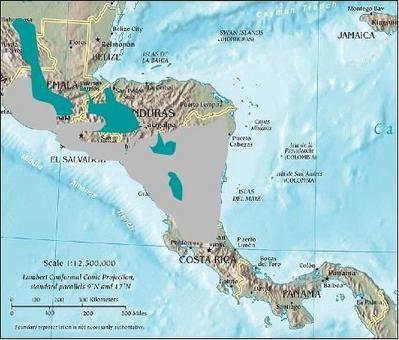Modello di distribuzione nella zona di transizione messicana. Neartico (verde) e Neotropicale (grigio). Modificato da  Wikipedia.