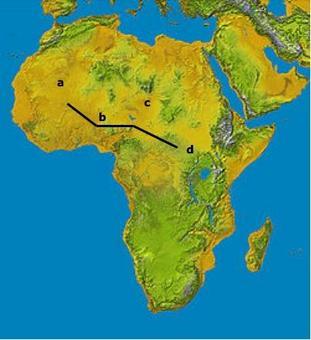 Rappresentazione di un  Track che connette gli areali A-D secondo il criterio delle distanze minime tra frontiere. Fonte  Wikipedia.