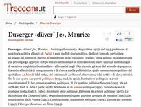 Biografia di  Duverger da Treccani.it