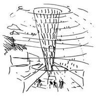 Schizzo di Norman Foster. Interno del Reichstag di Berlino.