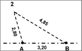 Rilievo del punto C con il metodo della trilaterazione