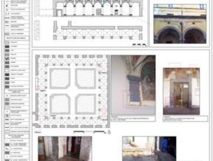 Tavola di analisi del degrado superficiale sulla facciata di un edificio storico.