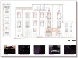 Tavola di analisi del degrado di superficie sulla facciata di un edificio storico.