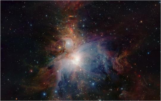 Grande Nebulosa in Orione, fotografata dal telescopio infrarosso VISTA. Fonte ESO.