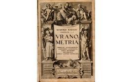 Frontespizio dell'opera di Bayer: Ioannis Bayeri Rhainani I.C. Uranometria : omnium asterismorum continens schemata, no a methodo delineata, aereis laminis expressa, stampata ad Augusta nel 1603.