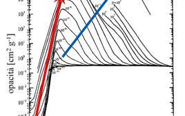 L'opacità media in funzione della temperatura, per diversi valori della densità. Fonte: A. Braccesi, Dalle stelle all'universo, Zanichelli (2000).