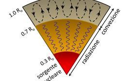 Schema della struttura interna del Sole. Fonte M. Capaccioli.
