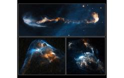 Gli oggetti HH 47, HH 34 e HH 2, osservati con il telescopio spaziale Hubble. Fonte NASA.