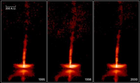 Le immagini mostrano l'evoluzione della struttura del disco (intorno alla protostella centrale oscurata) e del getto del sistema HH 30. Fonte: NASA