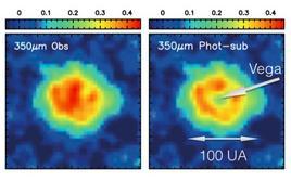 Disco stellare di polvere intorno alla stella Vega. Immagine modificata da Marsh et al. (2006, ApJ).