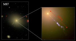 Il getto osservato nel centro di M87, evidenza di un buco nero supermassivo. Fonte: NASA.