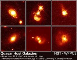 Galassie con al centro un quasar. Fonte: HST/NASA
