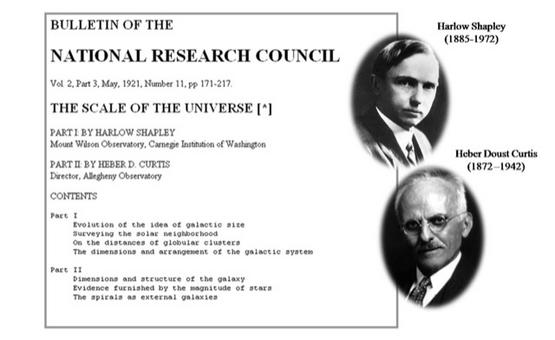At the end of the Great War the situation was so confused that on 26 April 1920 the National Academy of Sciences in Washington organized the so-called Great Debate between Shapley and Curtis.