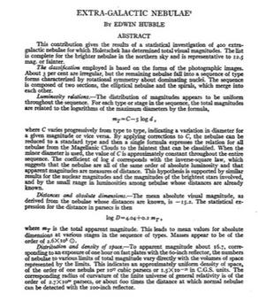 Abstract of Hubble's historical paper on galaxies, published in Ap.J., 64, 321, 1926.