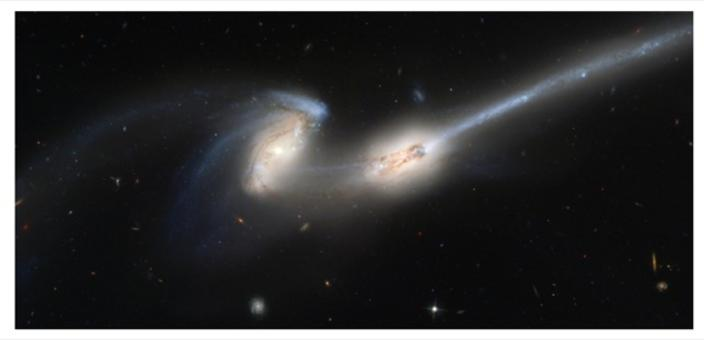 "The galaxy NGC 4676 named ""The Mice"" shows the result of the interaction of two galaxies. Credit: NASA (HST)."