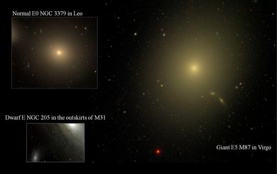Sample of E galaxies of various luminosities. Credit: SDSS and J.-C. Cuillandre (CFHT).