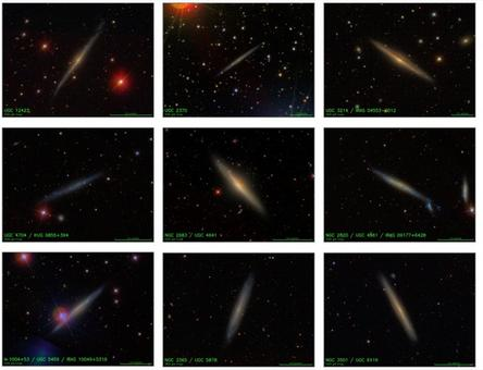 A sample of disk galaxies seen on edge. Note the different sizes of bulges and the occurrence of equatorial dust lanes. Credit: SDSS.